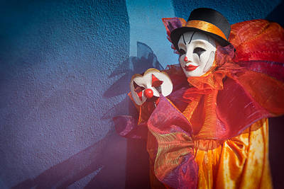 Clown Pair Photograph - Portrait Of Clown With Mask By Zina Zinchik by Zina Zinchik