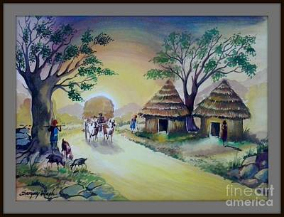 Bullock-cart Painting - Village Life- Poster Colour Painting by Sanjay Wagh
