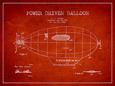 Hot Air Balloons Digital Art - Power Driven Balloon Patent by Aged Pixel