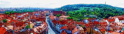 Prague Drawings Photograph - Prague - Panorame by Justyna JBJart