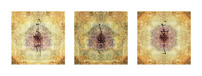 Compassion Digital Art - Prayer Flag Triptych  by Carol Leigh