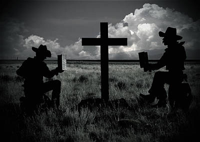 Cross Photograph - Praying Cowboys by Christine Till