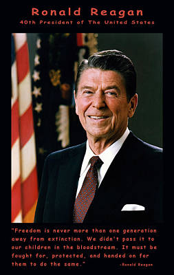 Official Portrait Digital Art - President Ronald Reagan by Official White House Photograph