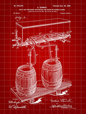 Fermentation Digital Art - Pressure Apparatus For Beer Patent 1897 - Red by Stephen Younts