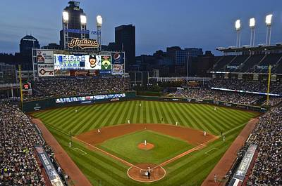 Doubleheader Photograph - Progressive Field by Frozen in Time Fine Art Photography