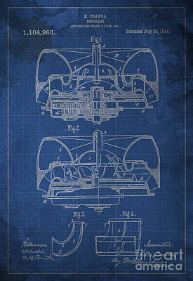 Santas Reindeers - Propeller Patent 1914 Blueprint by Drawspots Illustrations