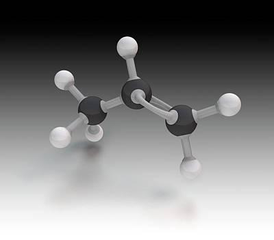 Atom Photograph - Propene Molecule by Mikkel Juul Jensen
