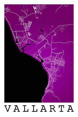 Mexico Digital Art - Puerto Vallarta Street Map - Puerto Vallarta Mexico Road Map Art by Jurq Studio