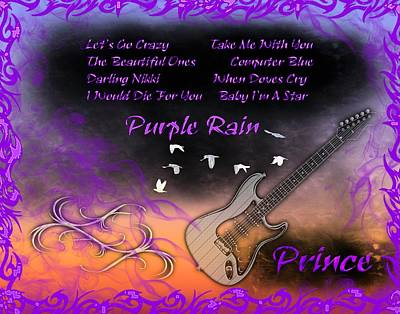 Rhythm And Blues Digital Art - Purple Rain by Michael Damiani