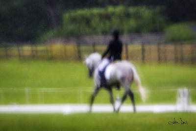 Print featuring the photograph Rainy Day Dressage by Joan Davis