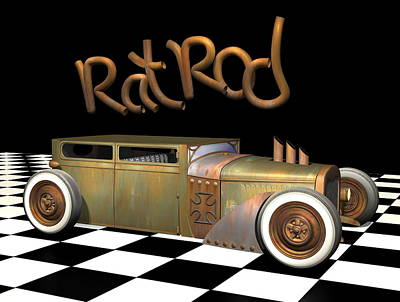 Rat Rod Digital Art - Rat Rod Sedan by Stuart Swartz