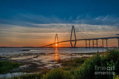 Photograph - Ravenel Bridge Sunset by Dale Powell