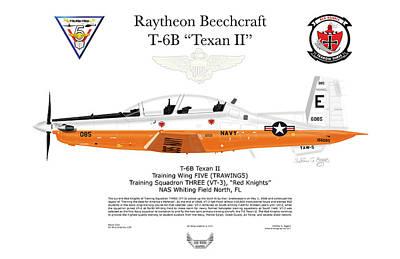 Raytheon Beechcraft T-6b Texan II Art Print by Arthur Eggers