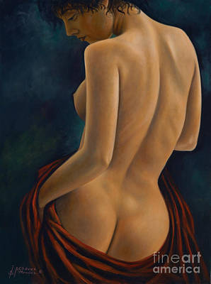 Nudes Royalty-Free and Rights-Managed Images - Red Silk by Ricardo Chavez-Mendez