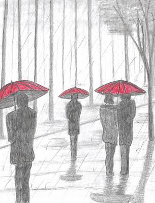 Rain Drawing - 3 Red Umbrellas  by Ray Ratzlaff