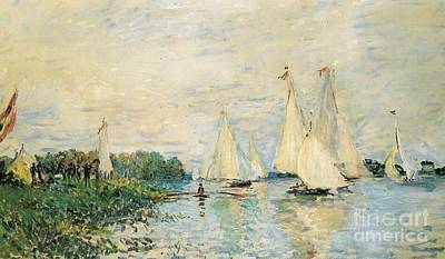 Sailboat Ocean Painting - Regatta At Argenteuil by Claude Monet