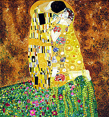 Reproduction Of - The Kiss By Gustav Klimt Art Print by Ze  Di