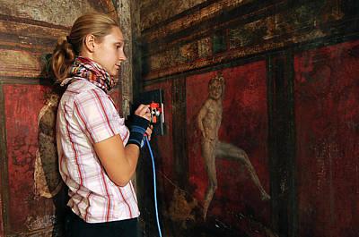 Restoration Of Roman Frescoes Art Print by Pasquale Sorrentino