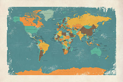 Retro Digital Art - Retro Political Map Of The World by Michael Tompsett