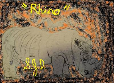Drawing - Rhino by Joe Dillon