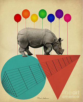 Geometric Animal Digital Art - Rhino by Mark Ashkenazi