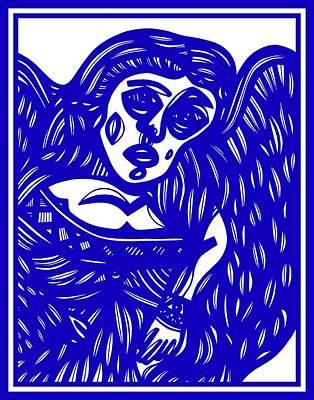 Angel Blues Drawing - Nwagbara Angel Cherub Blue White by Eddie Alfaro