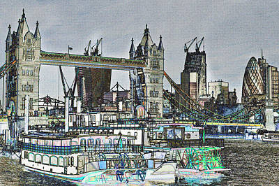 Tower Of London Digital Art - River Thames Sketch by David Pyatt