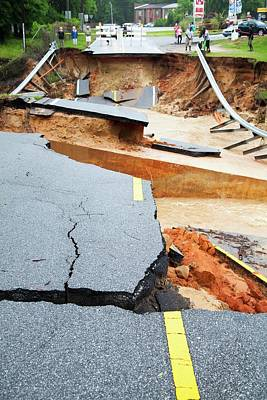 Pensacola Photograph - Road Washed Out By Flooding by Jim Edds