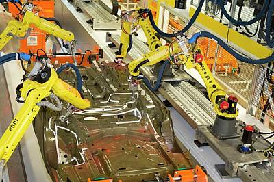 Sterling Photograph - Robotic Car Production Line by Jim West