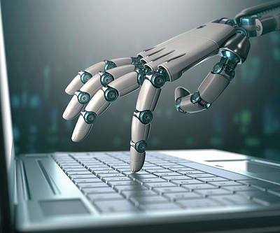 Robotic Hand Using A Laptop Computer Print by Ktsdesign