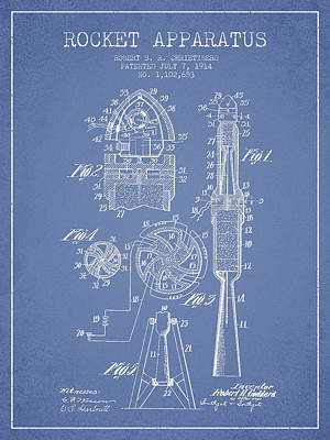 Space Exploration Drawing - Rocket Apparatus Patent From 1914 by Aged Pixel