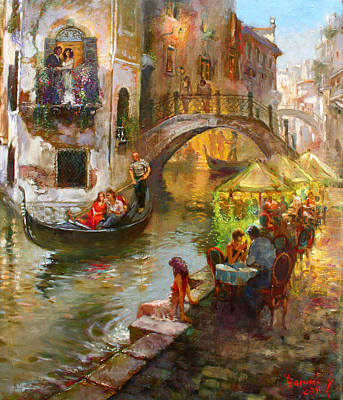 Romance In Venice  Art Print by Ylli Haruni