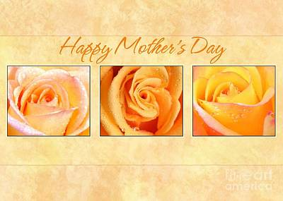 Digital Art - 3 Rose Mother's Day by JH Designs