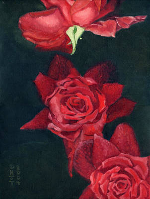 3 Roses Red Art Print by Katherine Miller
