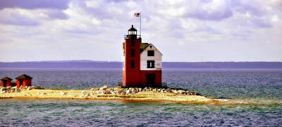 Photograph - Round Island Lighthouse Straits Of Mackinac Michigan by Marysue Ryan