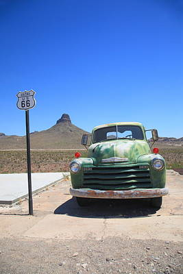 Photograph - Route 66 - Old Green Chevy by Frank Romeo