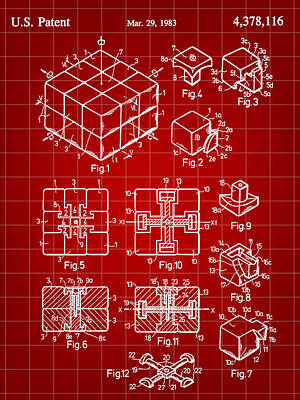 Ideals Digital Art - Rubik's Cube Patent 1983 - Red by Stephen Younts