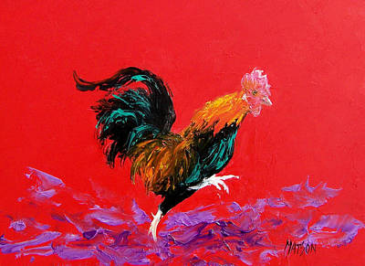 Rooster Painting - Running Rooster by Jan Matson
