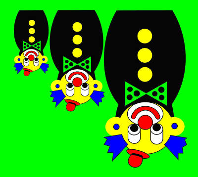 3 Russian Clown Dolls Stand On The Head For You Art Print by Asbjorn Lonvig