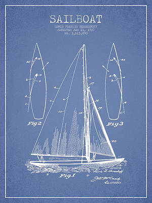 Sailboat Patent Drawing From 1927 Art Print