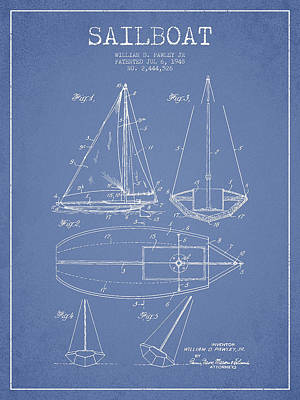Transportation Digital Art - Sailboat Patent Drawing From 1948 by Aged Pixel