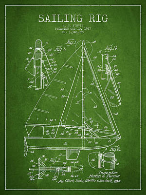 Sailing Rig Patent Drawing From 1967 Art Print by Aged Pixel