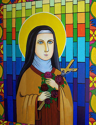 Stainglass Painting - Saint Teresa Of Avila by Don Parker