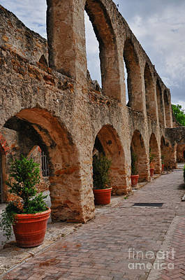 Stone Planter Photograph - San Jose Mission In San Antonio Texas by Gerlinde Keating - Galleria GK Keating Associates Inc