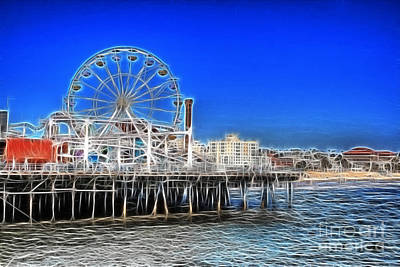Cyclone Rollercoaster Photograph - Santa Monica Pier by Doc Braham