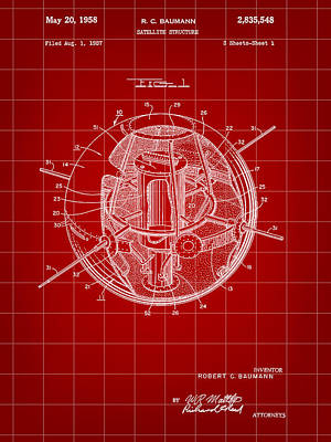 Gps Digital Art - Satellite Patent 1957 - Red by Stephen Younts