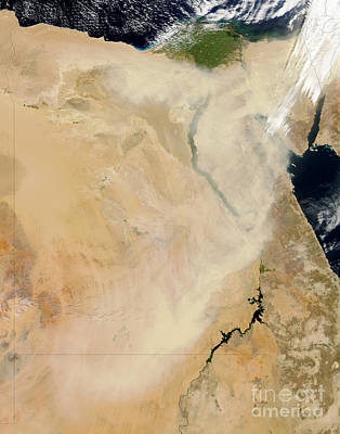 Sudan Red Photograph - Satellite View Of A Dust Storm by Stocktrek Images