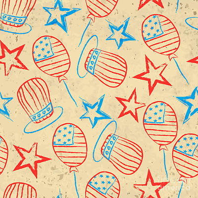 Digital Art - Seamless Pattern For 4th Of July by Allies Interactive