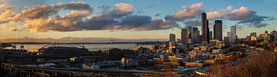 Skylines Royalty-Free and Rights-Managed Images - Seattle Dusk by Mike Reid