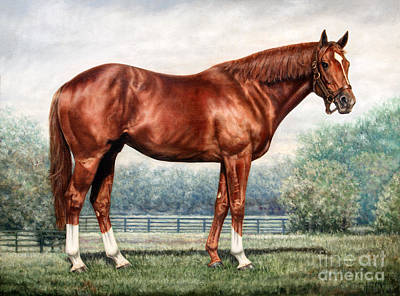 Chestnut Horse Painting - Secretariat by Thomas Allen Pauly